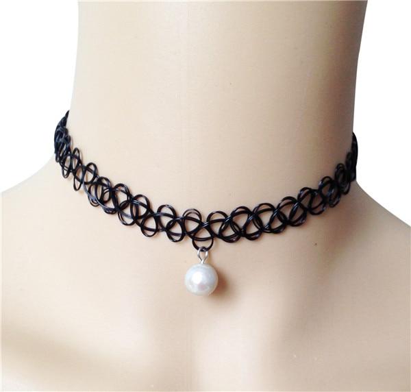 5ac2a4ea1ef6b 10mm cultured freshwater pearl necklace black stretch tattoo choker ...
