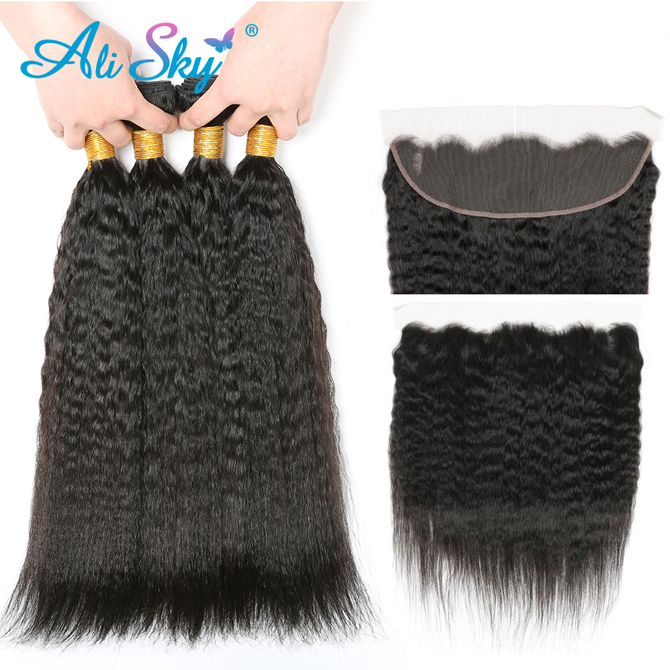 Malaysia Kinky Straight Hair Bundles with lace frontal NonRemy Human Hair Extensions AliSky Natural Black Color Weave 4 Bundles