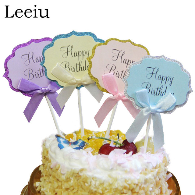Leeiu 5 Pcs Pack Happy Birthday Cake Toppers Bowknot DIY Cupcake Decoration Kids Gifts Party