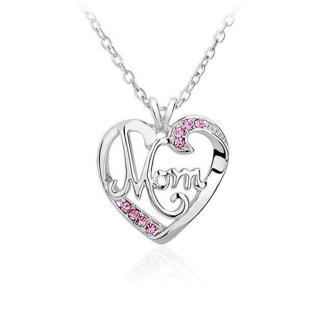 love letter mom inlaid crystal pendant mothers birthday gift for womans jewelry
