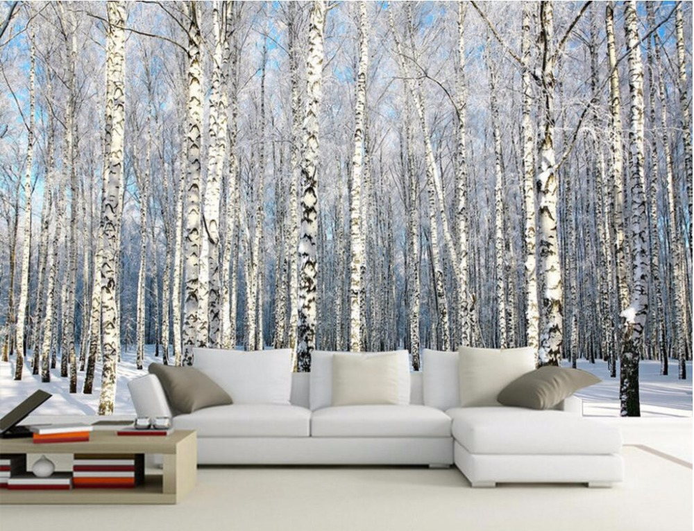 3d wall murals wallpaper for walls 3 d photo wallpaper Birch forest snow scenery decor picture Custom mural painting custom photo 3d wall murals wallpaper mountain waterfalls water decor painting picture wallpapers for walls 3 d living room