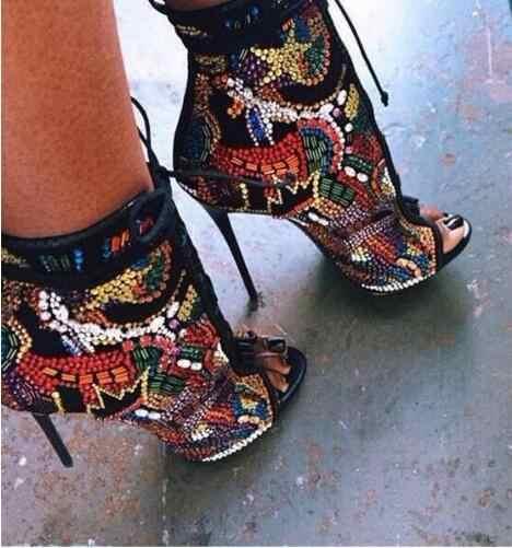 ¡Oferta! botines con cristales multicolores para mujer, botines con Puntera abierta con cordones, botines con diamantes de imitación coloridos y exquisitos con tacones extremadamente altos