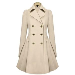 Image 3 - Trench Coat à manches longues pour femme, Trench Coat à manches longues, manteau dhiver classique à taille fine, offre spéciale