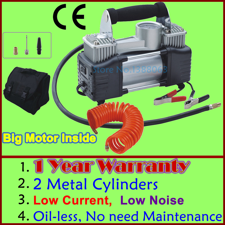 Wholesale Low Noise 12v Air Compressor Car Tyre Inflator Double Cylinder Metal Car Tire Inflator MINI