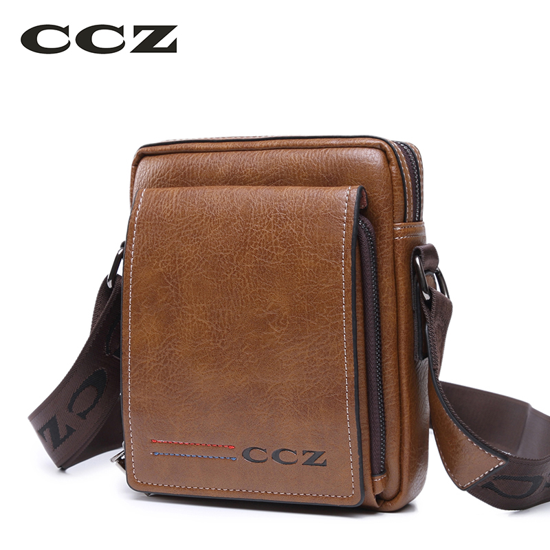 CCZ Mens Shoulder Bags Crossbody Bags For Men PU Leather Mochila Solid Pattern Brand Bags Flap