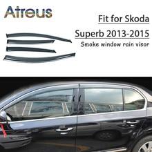 Atreus 1set ABS Rain Smoke Window Visor Car Wind Deflector For Skoda Superb 2013 2014 2015 Accessories