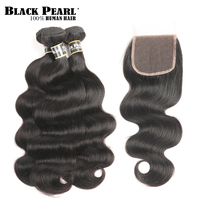 Black Peal Brazilian Body Wave Bundles With Closure Natural Color Hair Weave Non Remy Human Hair 3 4 Bundles With Closure