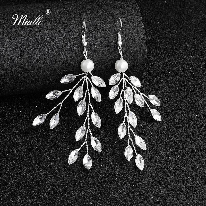 Miallo 2019 New Arrivals Handmade Wedding Drop Earrings Bridal Austrian Crystal Bride Bridesmaids for Women