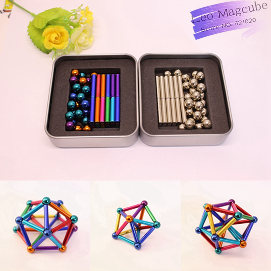 Neodymium Magnetic Rods 27pcs D8mm Steel Balls And 36pcs D4mm x L23mm Magnetic Sticks Bars Building Toys with Metal Box