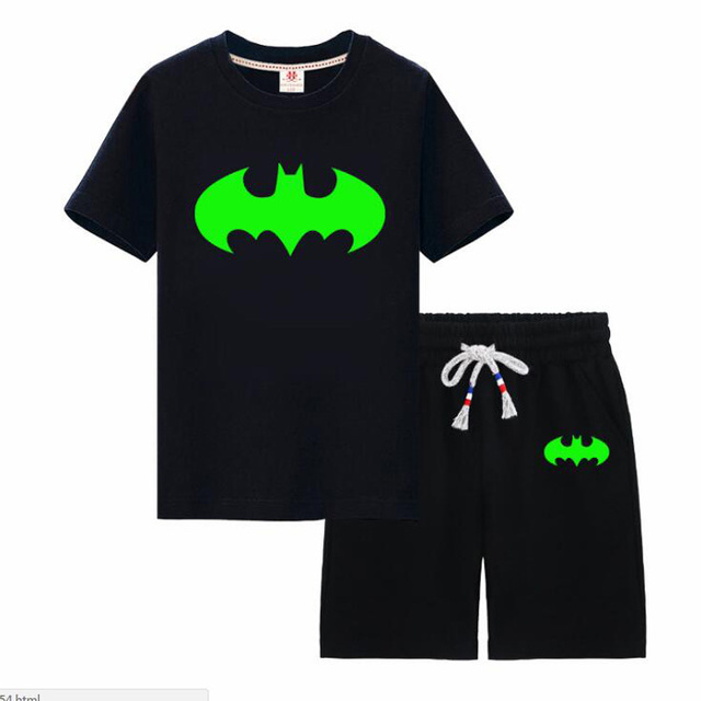 kids clothing sets noctilucence boys Children's sets for girls Luminous t-shirt with short boys kids night shining sports set