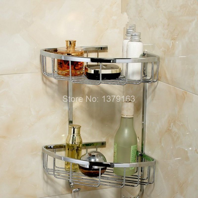 Chrome Brass Bathroom Accessory Corner Dual Tier Shower Soap / Sponge Tray Caddy Basket Wire Storage Rack Wall Mounted aba525 bathroom accessory wall mounted 2 tier triangular shower caddy shelf bathroom corner rack storage basket hanger wba076