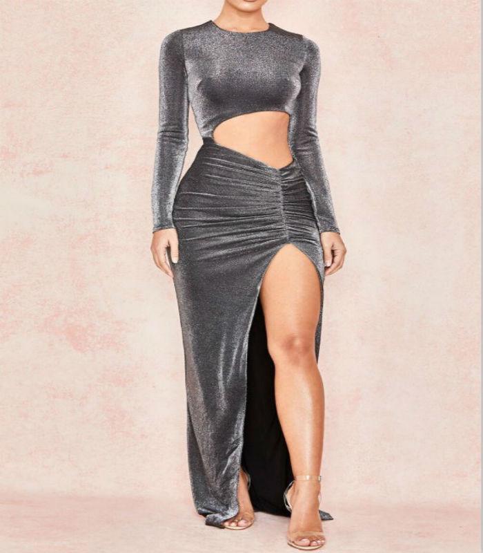 Robes Maxi Soirée cou Femmes De O Top Mode Bandage Robe Automne Party Creux Club Asymétrique Ardoisé Gris Sexy Out QrsxothdCB