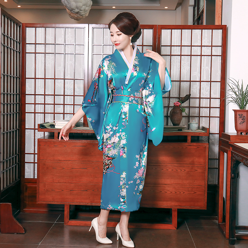 Traditional Japanese Style Women Long Kimono Bathrobe Gown Novelty Sexy Lack Blue  Satin Print Wheel Stage Performance Clothing