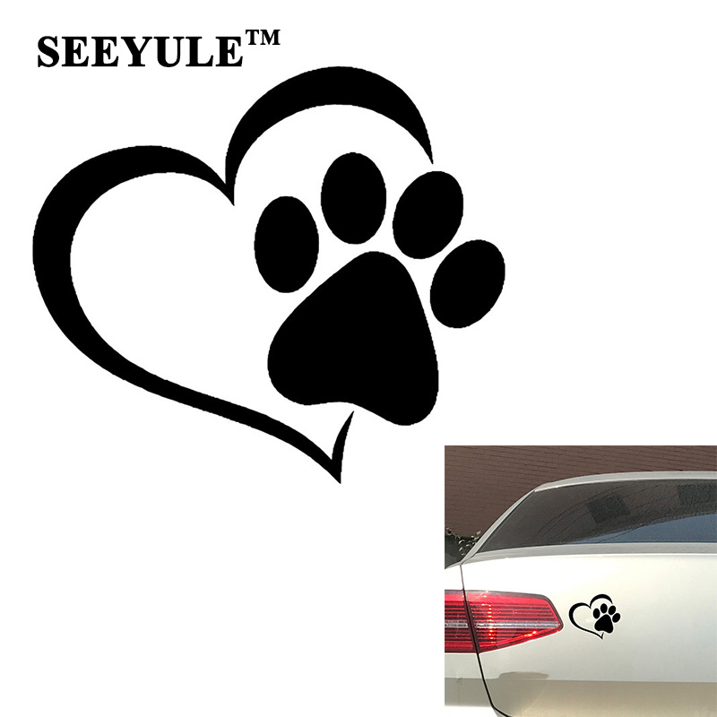 1pc SEEYULE Heart Love Dog Paw Print Creative Car Sticker Reflective Window Trunk Vinyl Decals Dog on Board Sticker ...