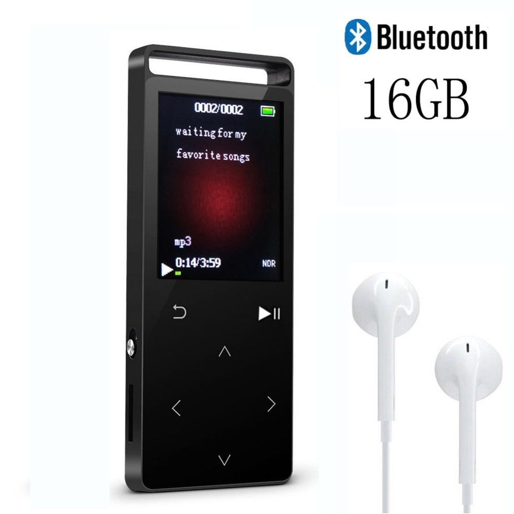MP4 Player with Bluetooth 4.0, 16GB Lossless Touch Button MP3 Music Player with FM Radio Voice Record-Support 64GB Micro SD Card mp3 player built in speaker metal lossless sound audio music player with fm radio hd video player support sd card up to 64gb
