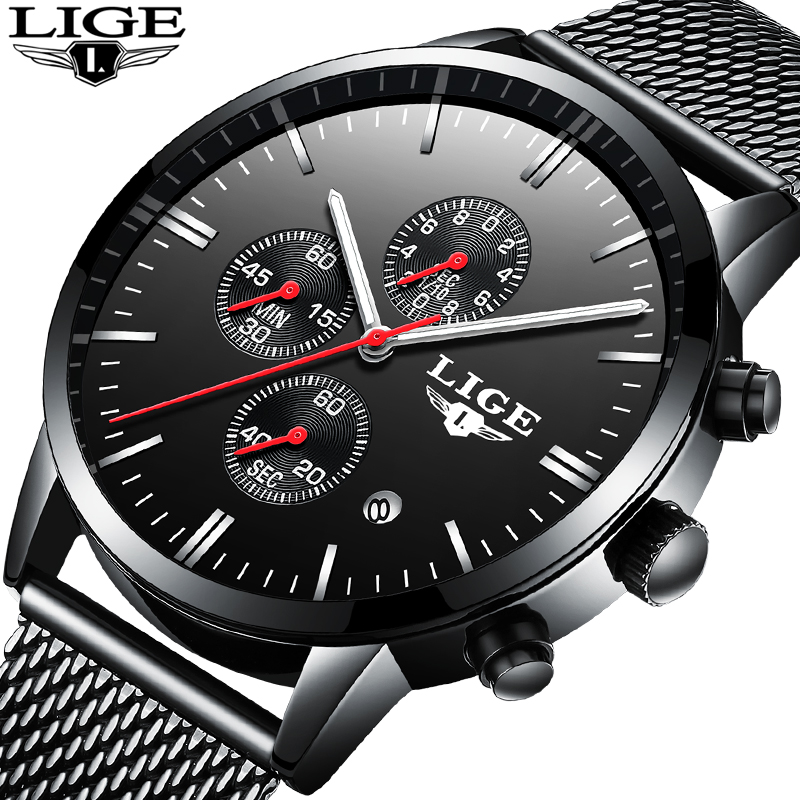 LIGE Mens Watches Fashion Top Luxury Brand Sports Watch Men Casual Waterproof Stainless Steel Quartz Watch Relogio Masculino+Box a500g mens watches top brand luxury tvg brand men business casual watch stainless steel strap quartz watch fashion sports watche