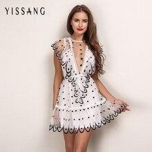 85fb7a7793b Yissang Elegant Club White Dresses Mesh Sheer Ruffle Shoulder Short  Vestidos Sleeveless Dot Pattern Kawaii Ladies