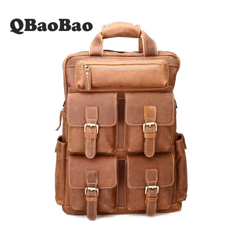 Multi Pockets Genuine Leather Backpack Men Top Quality Travel Men Bag Large Capacity Vintage Male Back Pack Crazy Horse Leather high quality authentic famous polo golf double clothing bag men travel golf shoes bag custom handbag large capacity45 26 34 cm