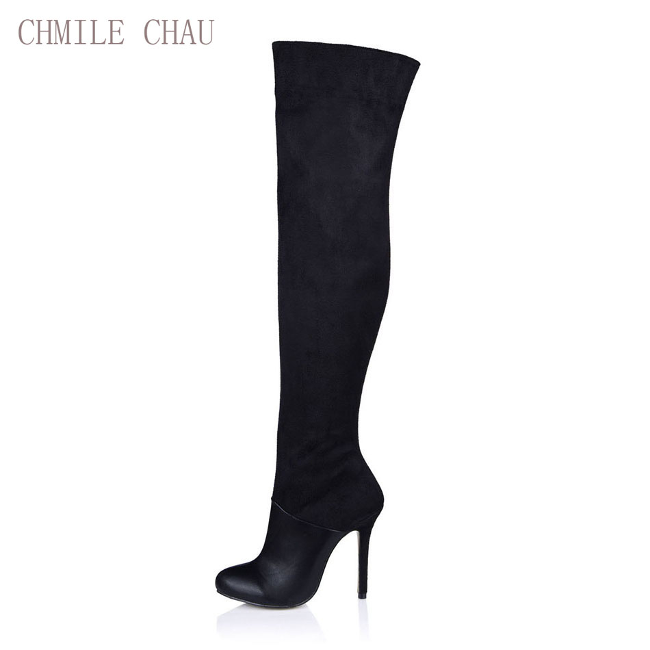 CHMILE CHAU Black Suede Sexy Dress Party Shoe Women Stiletto High Heel Fashion Lady Over-the-Knee Boots Zapatos Mujer 0640CBT-Z3
