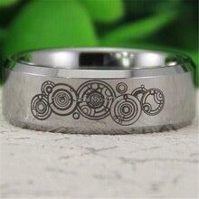 شحن مجاني YGK مجوهرات حار مبيعات 8 مللي متر الفضة مشطوف الطبيب الذي الوقت جديد الرجال الراحة التنغستن خاتم الزواج