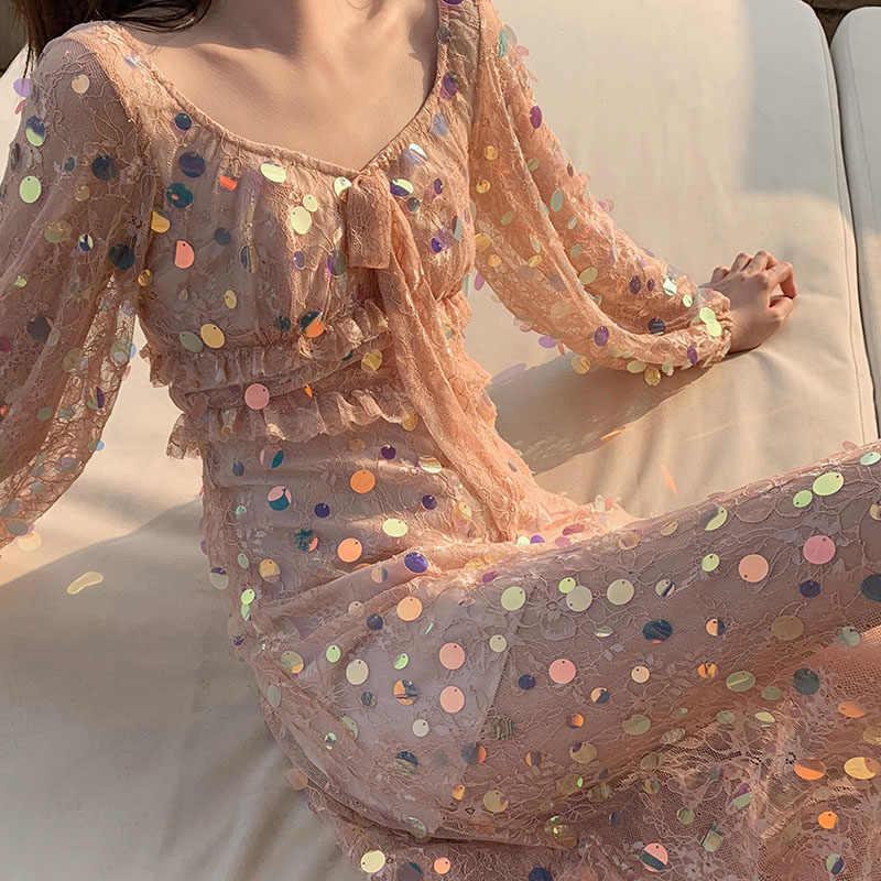 XITAO, кружевное платье миди с блестками и оборками, с длинным рукавом, популярная перспективная сексуальная женская одежда, новинка 2019, приталенное, подходит ко всему, XJ1662