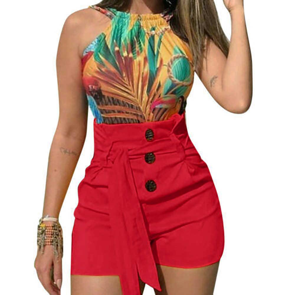 Женские модные шорты с высокой пуговицей Летние повседневные женские эластичные сексуальные трусы с поясом Большие размеры короткие feminino