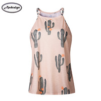 Summer Sleeveless Women's Fashion T Shirt Cactus Printed Casual Tops T-shirt T Shirts