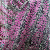 New Olive Branch Embroidered Lace Fabric Strand Golden Thread Polyester Nylon Textured Fabric Luxury Dress Fabric