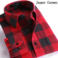 Men Flannel Plaid Shirt Cotton 2017 Spring Autumn Casual Long Sleeve Shirt Soft Comfort Slim Fit Styles Brand Man Clothes 40wy
