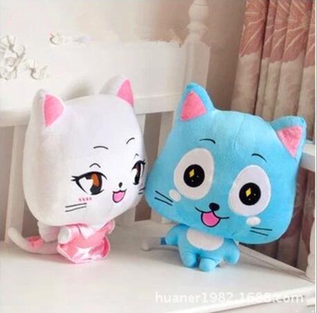 20cm Anime Figure Happy & Lulu Animals Fairy Tail Plush Toys Happy Lulu Cat Dolls For Children