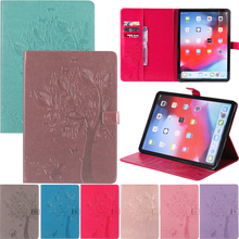 """Cute Cat Tree Embossed Leather Wallet Magnetic Flip Tablet Case Cover Shell Skin Coque Funda For Apple iPad Pro 9.7"""" 2016 iPad 7"""