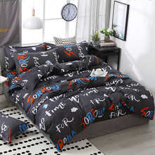 SJ 3/4pcs/Set Letters Kids Bedding Set Cotton Duvet Cover Set Children Student Dormitory Bed Linen Linings Home Textile(China)