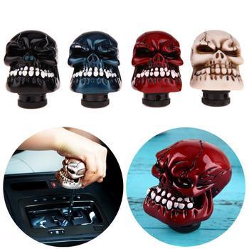 Moda czaszka głowa dźwignia zmiany biegów samochodu gałka dźwignia Wicked rzeźbiona czaszka czarny czerwony srebrny samochód modyfikacja wyposażenie wnętrza POP nowy