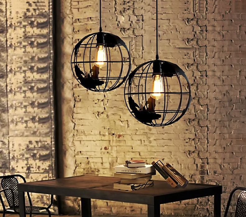 Globe earth iron pendant lamp light shade 2 color for for Dining room globe lighting