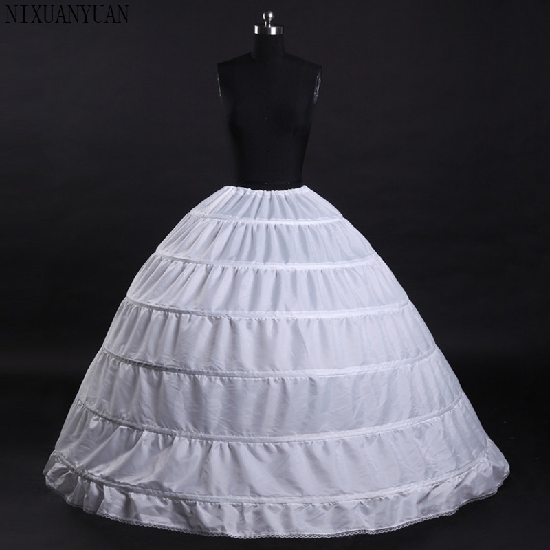 6 Hoops White Petticoats Bustle Ball Gown Wedding Dress Underskirt Bridal Crinolines