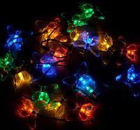 2 В солнечной энергии аккумуляторная красочные огни 20 шт. СВЕТОДИОДОВ форме бабочки праздник строки свет