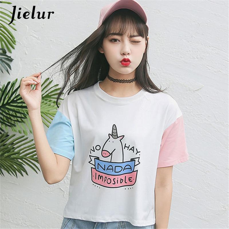 Sommer Harajuku BF Zauberfarbe kurzarm Weibliche T-shirt Neue Mode Niedlichen Pony Cartoon Gedruckt Loses T-shirt Frauen Tops S-XL