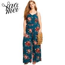 Yaomei Plus Size Women Clothing Floral Print Sleeveless Jumpsuit Hollow Out Ladies Bodysuit Camis Spaghetti Strap Bodysuit