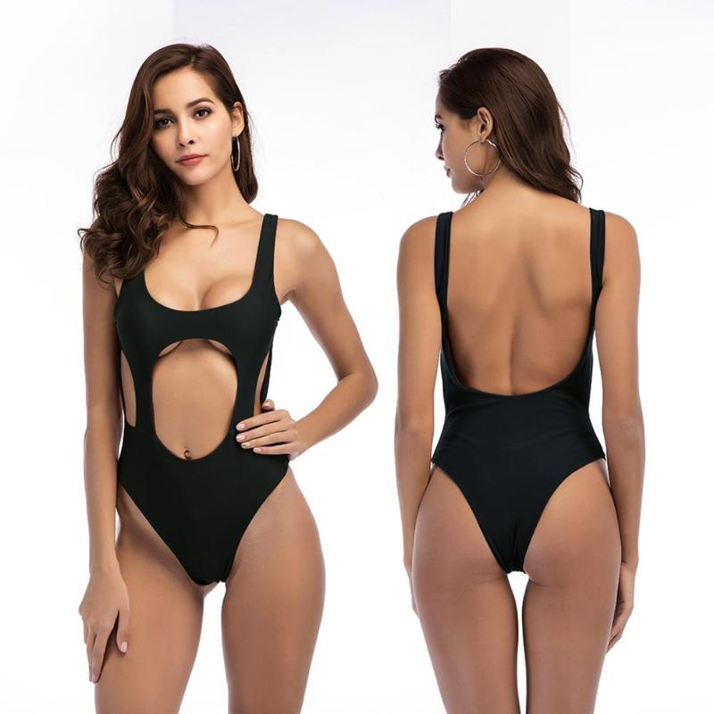 <font><b>2018</b></font> New Halter Bikini <font><b>Swimwear</b></font> <font><b>Women</b></font> <font><b>Swimsuit</b></font> <font><b>Sexy</b></font> High Cut Bodysuit Swim Suit <font><b>One</b></font> <font><b>Pieces</b></font> Swimming Suit Bathing Suit biquini image