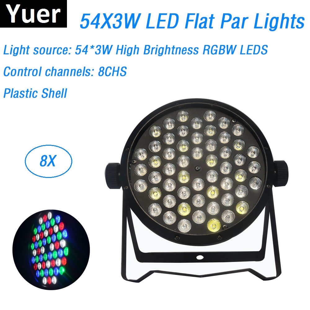 8Pcs/Lot LED Flat Par 54X3W RGBW DMX Stage Lights Business Lights High Power Light With Professional for Party KTV Disco DJ8Pcs/Lot LED Flat Par 54X3W RGBW DMX Stage Lights Business Lights High Power Light With Professional for Party KTV Disco DJ