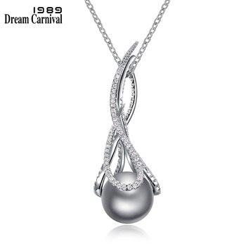 4c699758188f DreamCarnival 1989 fantástico Grey Color perla simulada Zirconia collar de  cadena para las mujeres corredera colgante joyería de fiesta de WP6494