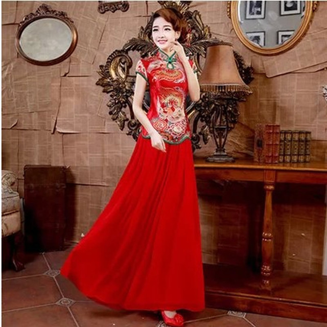 2016 Fashion Brocade Longfeng Embroidery Cheongsam Chinese Traditional Wedding Dress Red Modern Qipao Dress Vestido Oriental