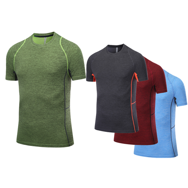d58e7abc Mannen Sport Shirt Short Sleeve Quick Dry Slim Fitness T-shirt Training  Compression Workout Tops Gym Running Shirt Men Dry Fit