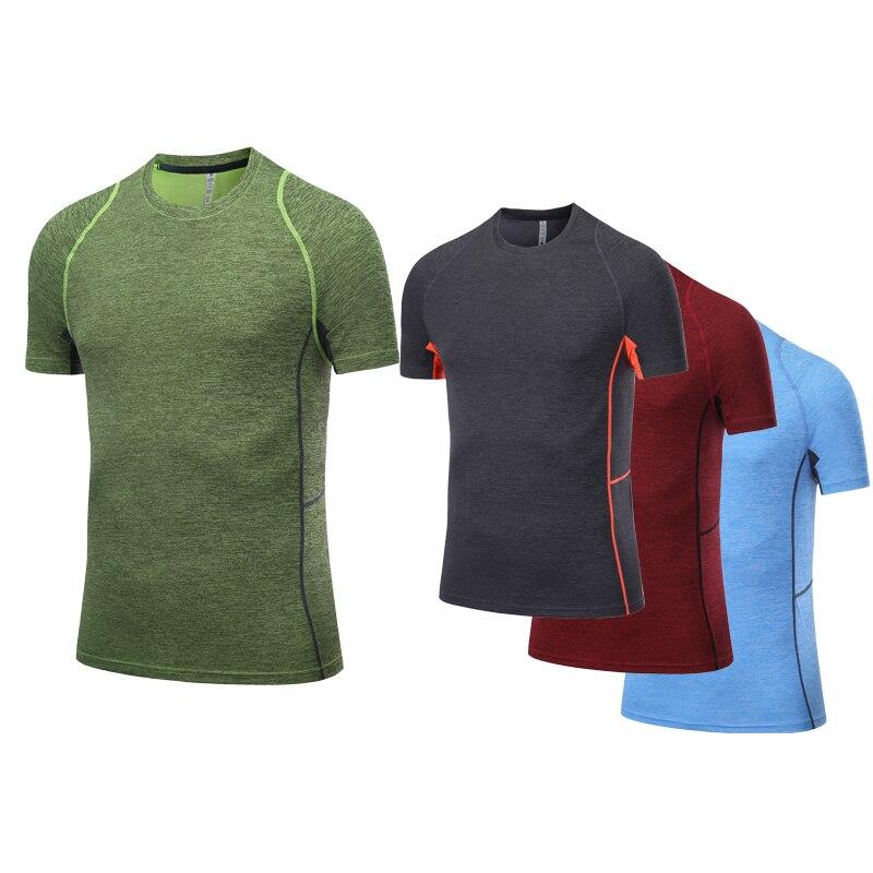 Mannen Sport Shirt Short Sleeve Quick Dry Slim Fitness T-shirt Training Compression Workout Tops Gym Running Shirt Men Dry Fit