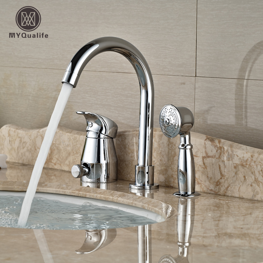 Chrome Finish Brass Bathtub Sink Faucet Deck Mount Bath Shower Mixer Tap with Pull Out Brass Handshower sognare new wall mounted bathroom bath shower faucet with handheld shower head chrome finish shower faucet set mixer tap d5205