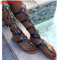 Crystal Embellished Bling Bohemian Beach High Top Sandalia Feminina Women Sandals Gladiator Buckle Design Hot Flats