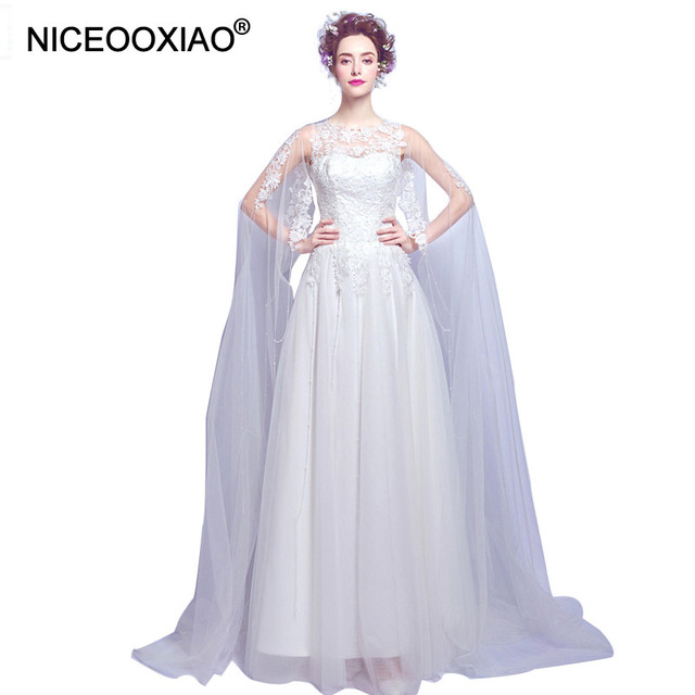 Niceooxiao Lady S Lace Cloak Wedding Dresses White Fairy Style Soft Tulle Tiered Lique Bridal Gown 2017