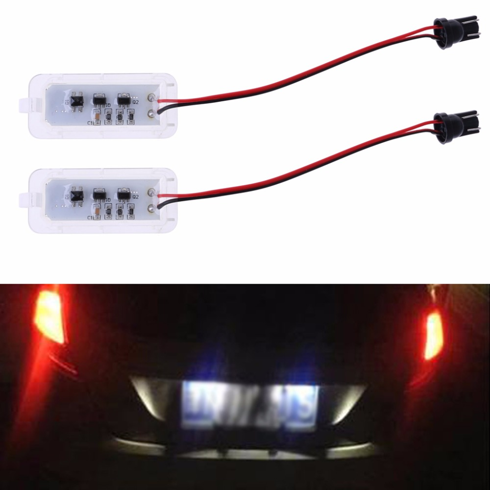 1Pair License Number Plate Light 18LED Lamps Replace For Ford Mondeo Focus 5D Canbus 2x 2007 2015 benz smart fortwo w451 canbus led license number plate light lamps ca238