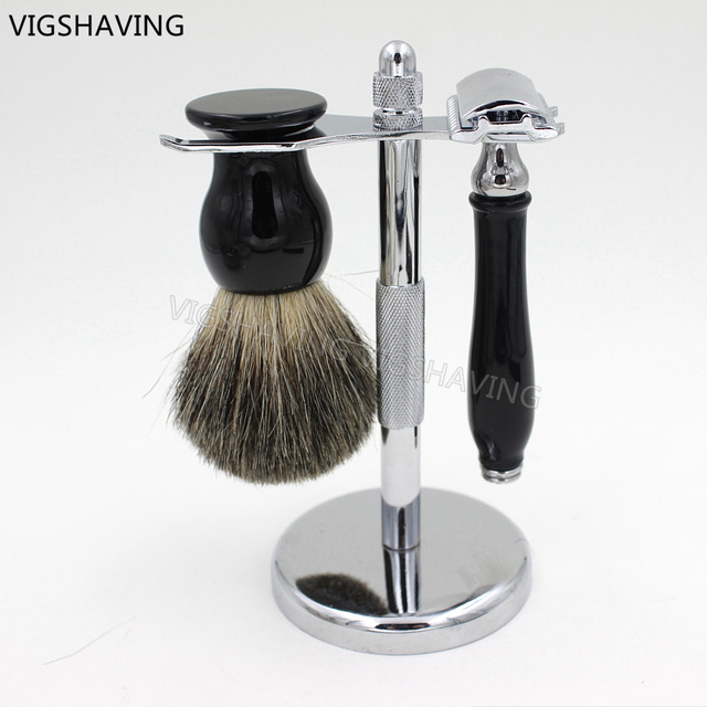 Double edge Safety razor and Grey Pure Badger shaving brush set