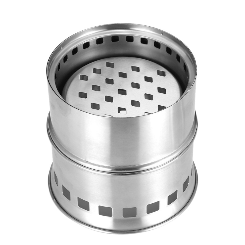 Portable Stainless Steel Camping Stove Outdoor Wood Stove Firewoods Furnace Lightweight BBQ Picnic Solidified Alcohol Stove